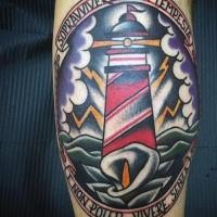 Gerahmter Gedenk Leuchtturm im Sturm farbiges Tattoo im Stil der alten Schule mit Calla und Schriftzug