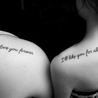 Friendship quote tattoos on shoulders
