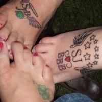 Friendship tattoos on foots