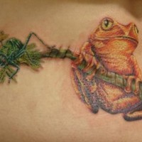 rana e ragno su ramo di albero tatuaggio