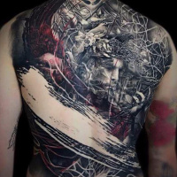 Full back abstract tattoo
