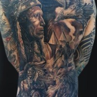 Full back tattoo in style of native americans
