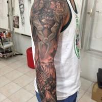 Full sleeve tattoo on topic of vikings