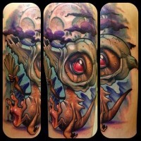 Funny 3D like fantasy monster tattoo combined with mystic clouds and moon