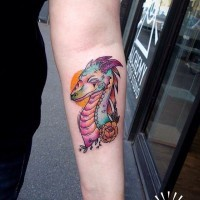 Funny bright colored dragon and sun forearm tattoo with flower