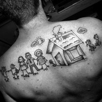 Funny cartoon like big family tattoo with house and dogs on upper back