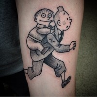 Funny cartoon like black ink forearm tattoo of running man with boy ...