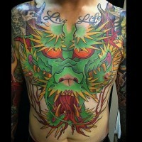 Funny cartoon like colored big dragon tattoo on chest