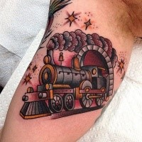 Funny cartoon like colored steaming train tattoo on biceps with small sparkling stars