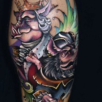 Funny cartoon style colored leg tattoo of fantasy pig king