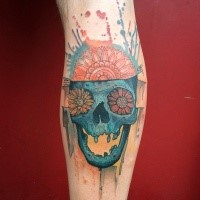 Funny cartoon style colored leg tattoo of human skull stylized with flowers