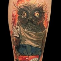 Funny cartoon style colored owl with clock tattoo