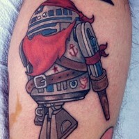 Funny cartoon style colored pirate R2D2 forearm tattoo