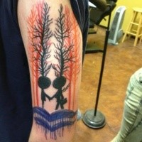 Funny cartoon style colored shoulder tattoo of funny forest people
