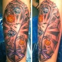 divertente colorato Halloween a tema luce stradale tatuaggio su braccio