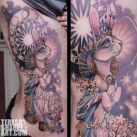 Funny looking big multicolored side tattoo of cute bunny princess