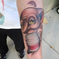 Funny looking colored forearm tattoo of Harry Potter movie monster