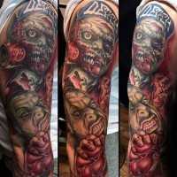 Funny looking colored sleeve tattoo of various zombie monster and human heart