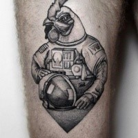Funny looking dotwork style thigh tattoo of chicken astronaut