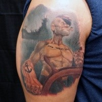 Funny looking old cartoon like Sailor Popeye tattoo with big battle ship