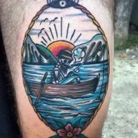 divertente multicolore scheletro pescatore tatuaggio in cornice su coscia
