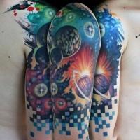divertente vecchia scuola colorato spazio profondo tatuaggio a mezzamanica