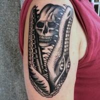 divertente vecchia scuola stile nero inchiostro alligatore con cranio tatuaggio su spalla
