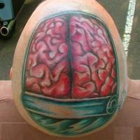 divertente dipinto colorato cervello umano in tincan tatuaggio in testa