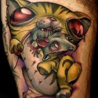 divertente dipinto grande 3D colorato gatto mostro e topo tatuaggio su coschia