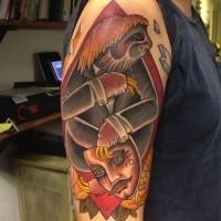 divertente dipinto grande colorato bradipo con maschera tatuaggio su spalla
