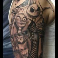 divertente realistico nero e bianco mostri creature tatuaggio avambraccio