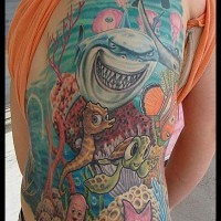 Funny underwater world tattoo on back