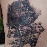 Furious crazy wolf on human remains dreadful detailed original tattoo