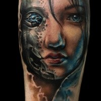 Futuristic illustrative style colored biomechanical woman portrait