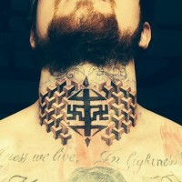 Geometric amazing symmetrical throat tattoo