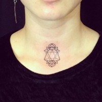 Geometric lily throat tattoo for girls