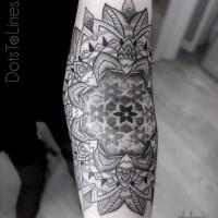 Geometric sacred forearm tattoo
