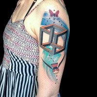 Geometric style colored shoulder tattoo of butterfly and bird