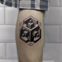 Geometric style small black ink figure tattoo on leg