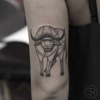 Geometrical style black ink arm tattoo of big bull