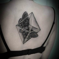 Geometrical style black ink back tattoo of rhomb with butterfly