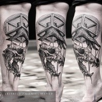 Geometrical style black ink leg tattoo of animal skull with wooden hand