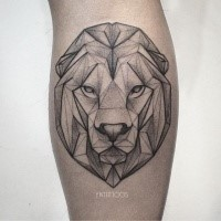 Geometrical style black ink tattoo of lion head