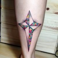 Tatuaje  de   estrella extraordinaria geométrica en la pierna