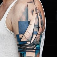 Geometrical style colored shoulder tattoo of sailing ship