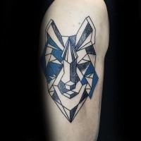 Geometrical style colored shoulder tattoo of animal face