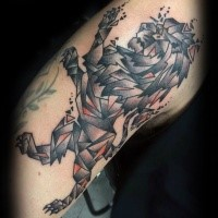 Geometrical style colored tattoo of lion statue