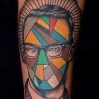 Geometrical style vintage faceless portrait tattoo on arm