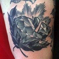 Gorgeous 3D like black ink corrupted diamond tattoo on leg