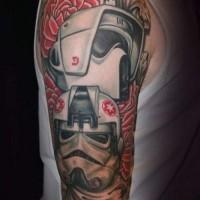 Tatuaje en el brazo, dos stormtroopers interesantes de película la guerra de las galaxias